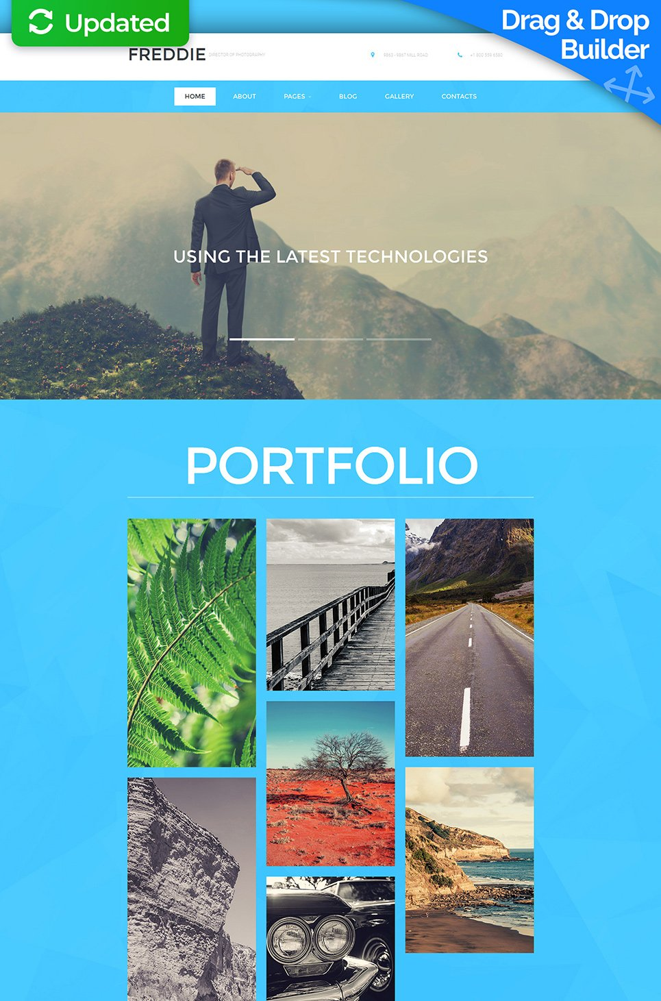 White and blue web template for photographers