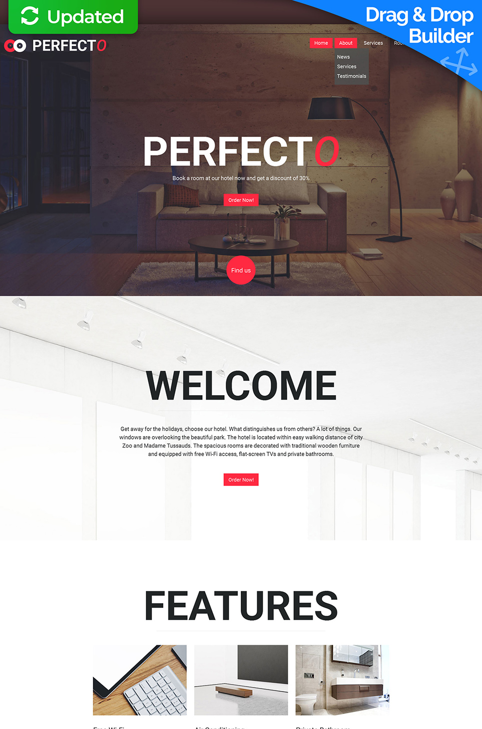 Web template for hospitality business