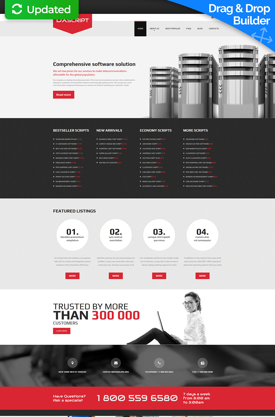 Responsive web theme for internet companies
