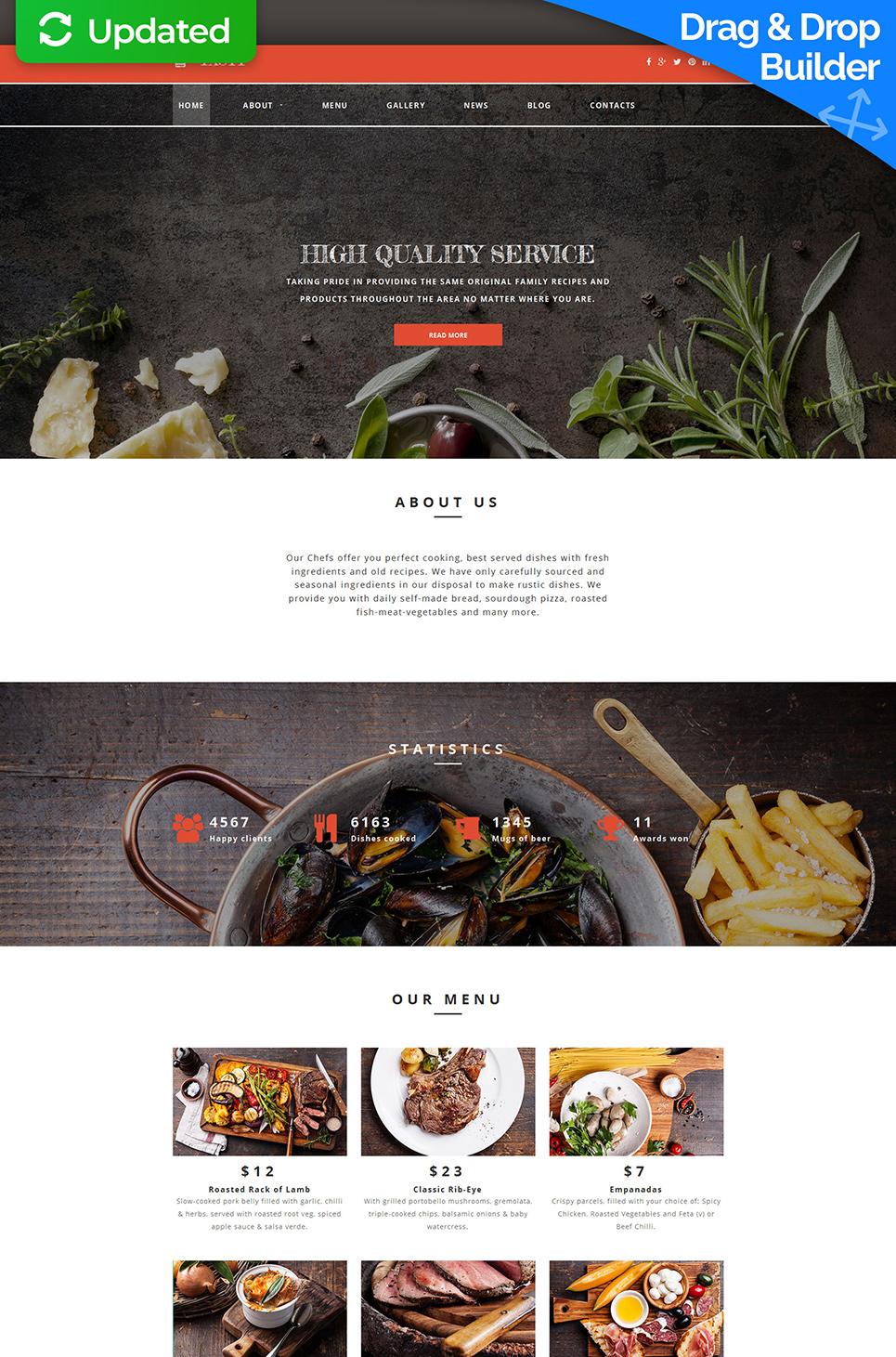 Responsive site for restaurant business