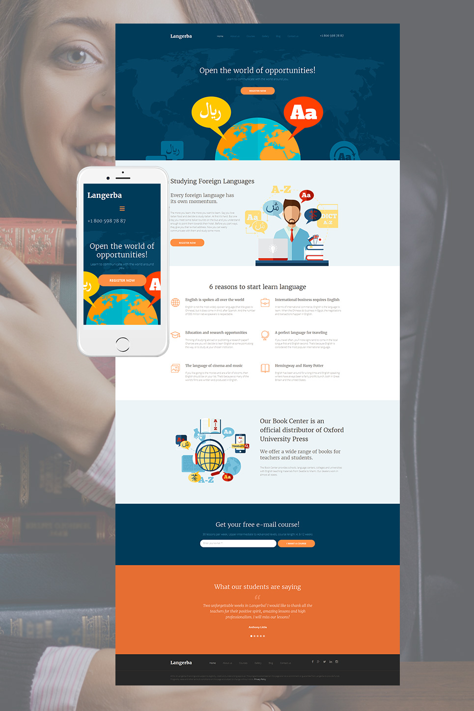Responsive web template for education