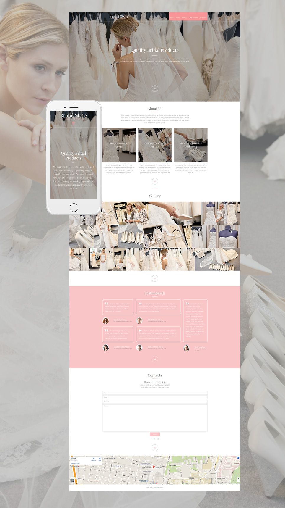 Wedding site with grid gallery