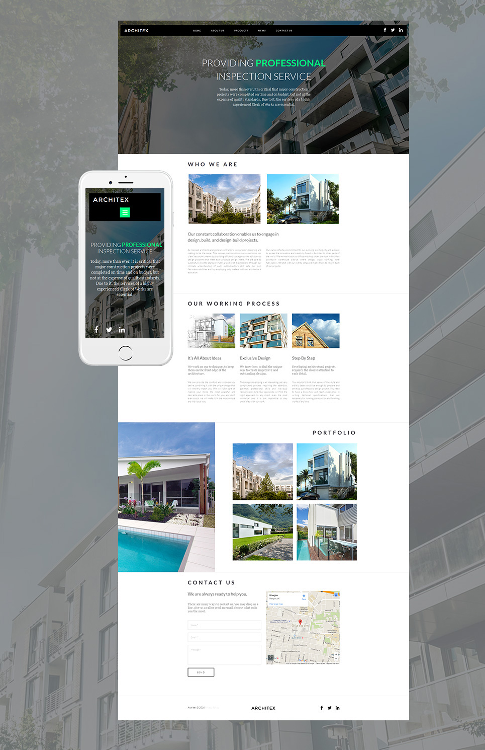 Creative theme for architecture site