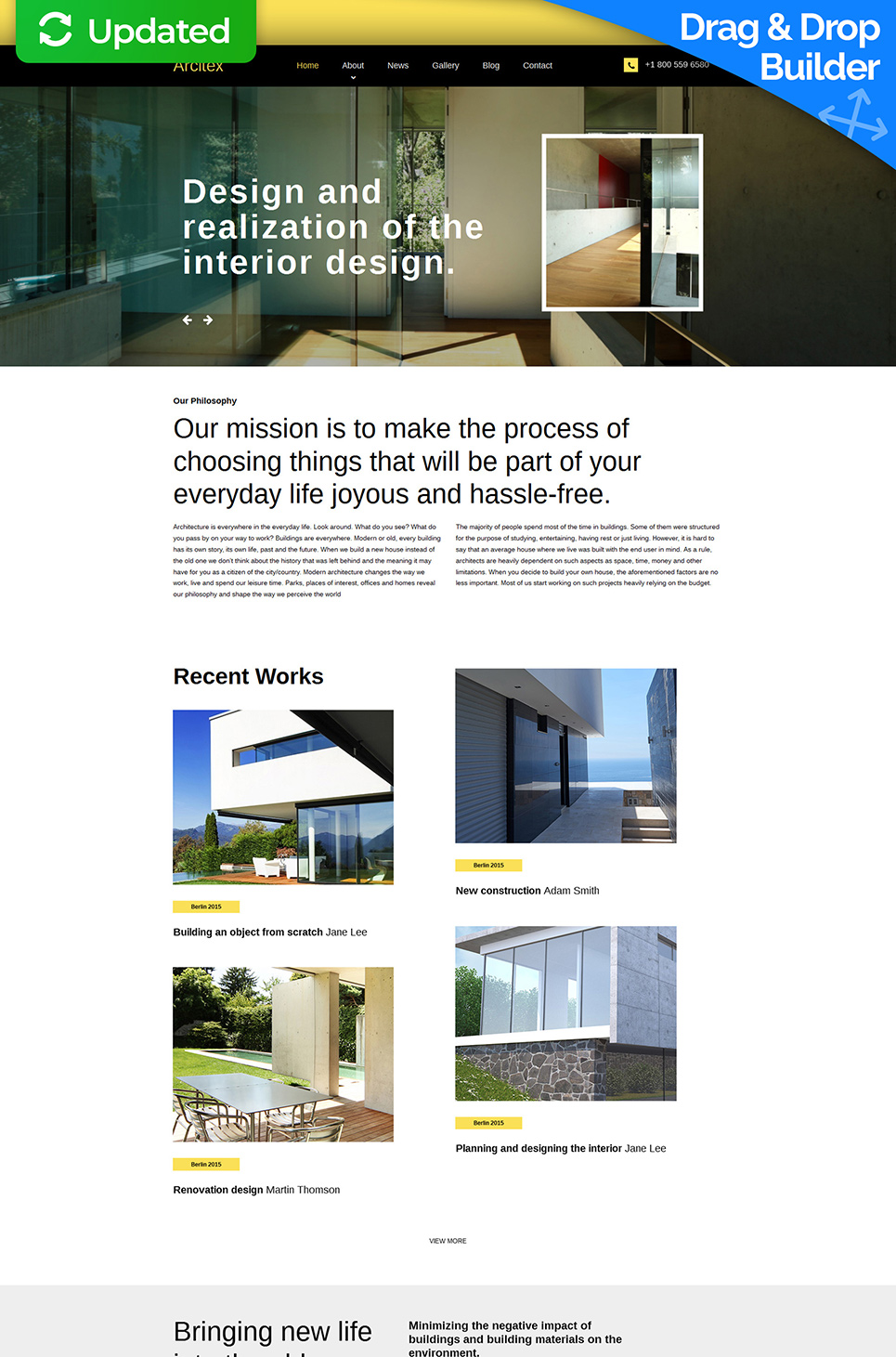 Responsive web theme for architecture