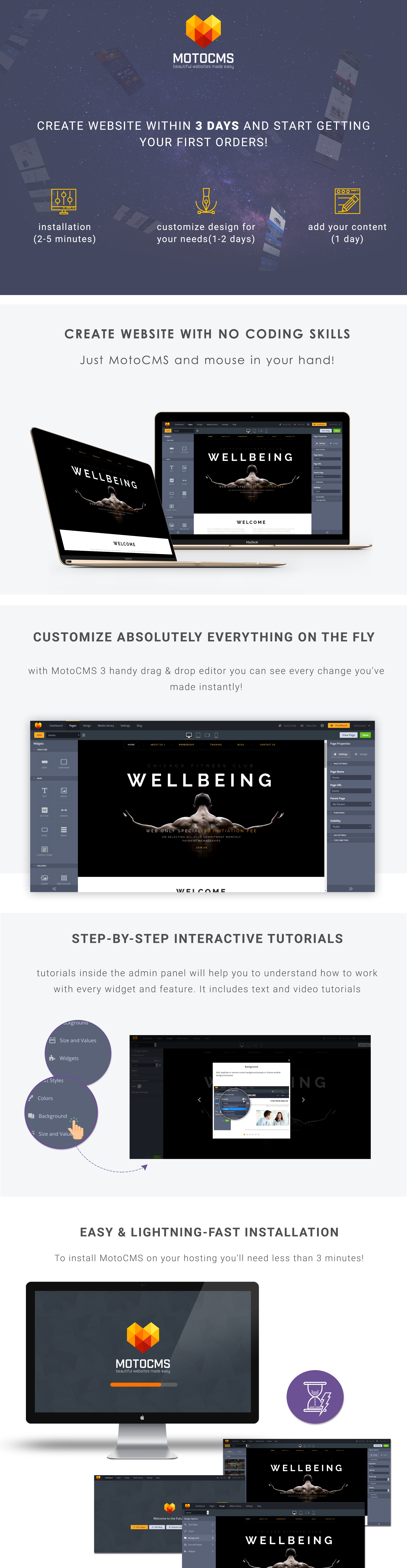 Wellbeing Fitness  Responsive Moto CMS 3 Template