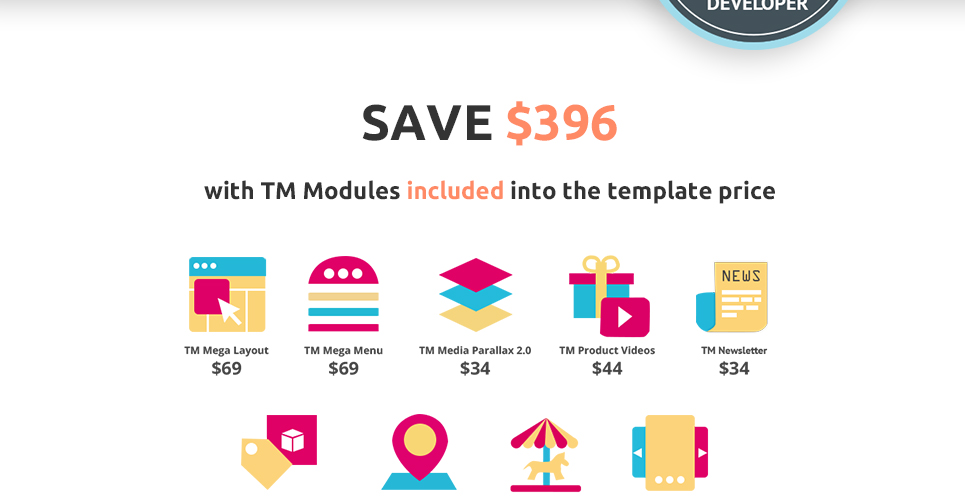 This prestashop theme for clothing and cloth store is coming with TM modules