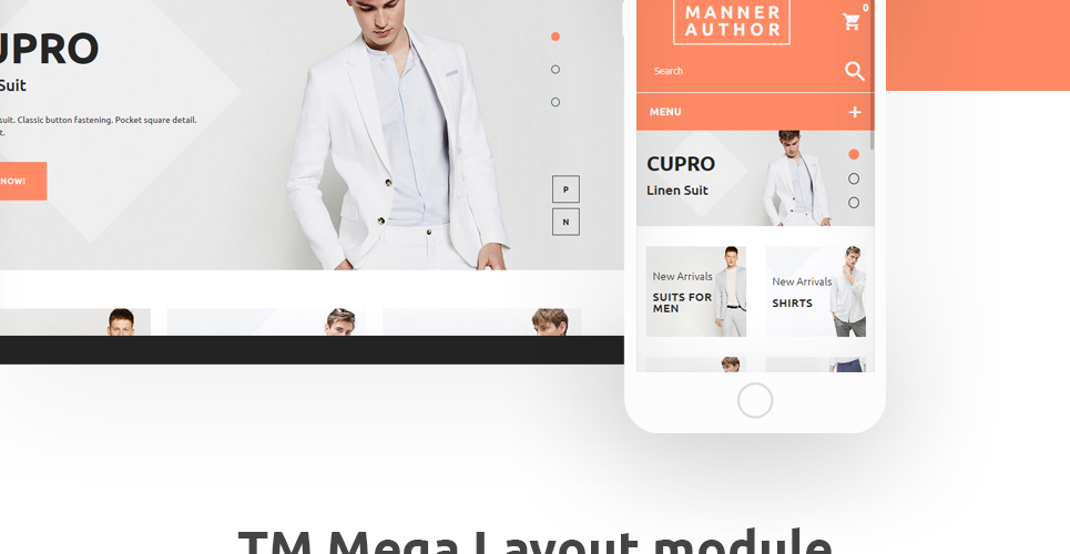 This cloth store prestashop theme is implemented with TM mega layout module