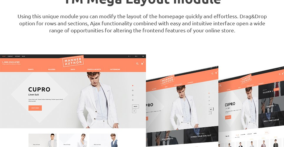 Features of this cloth store prestashop theme