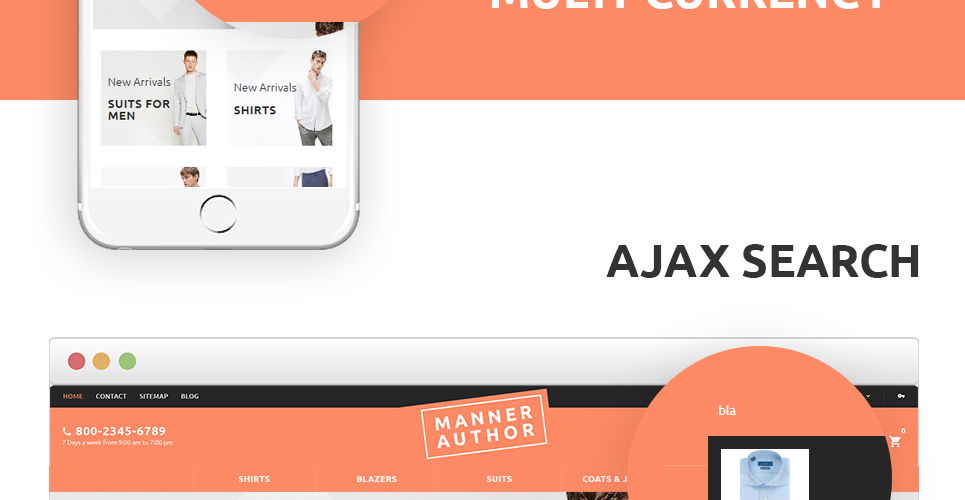 This cloth store prestashop theme is having the feature of ajax search