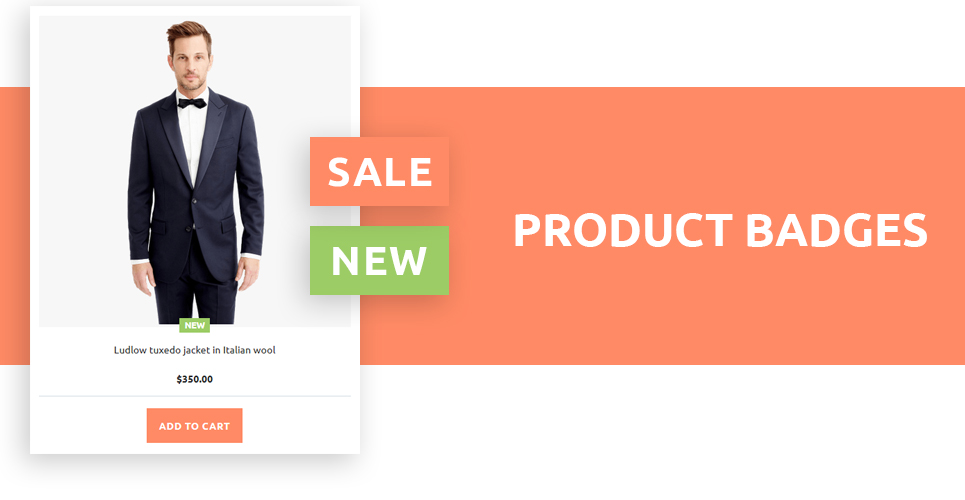 This cloth store prestashop theme implemented with the product badges