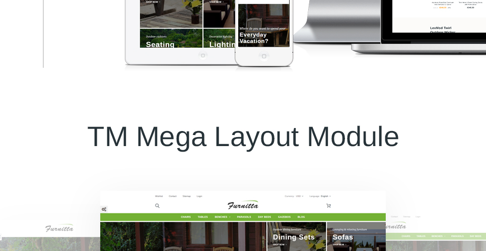 Furniture store theme with Mega Layout Module