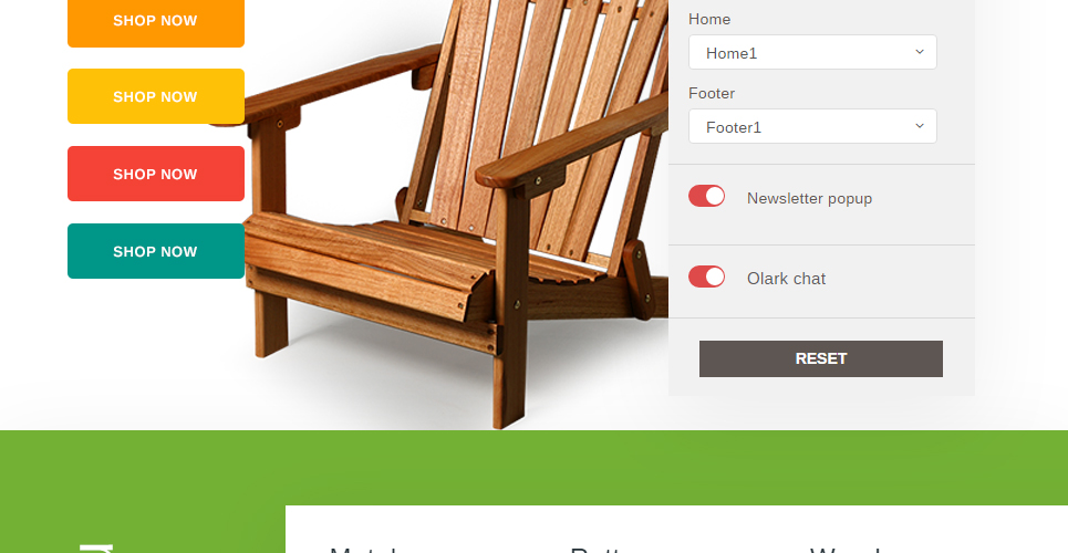Color Switcher Functionality in Furniture Store Prestashop Theme