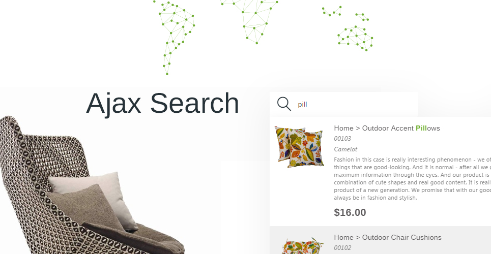 Furniture Store Prestashop Theme with Ajax product search for quick search results