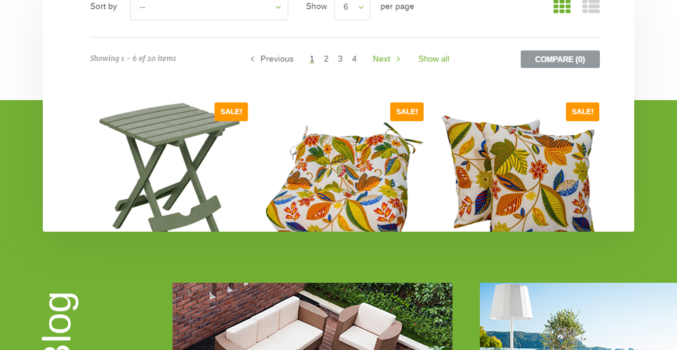 Furniture Store Prestashop Theme with List view and grid view o products