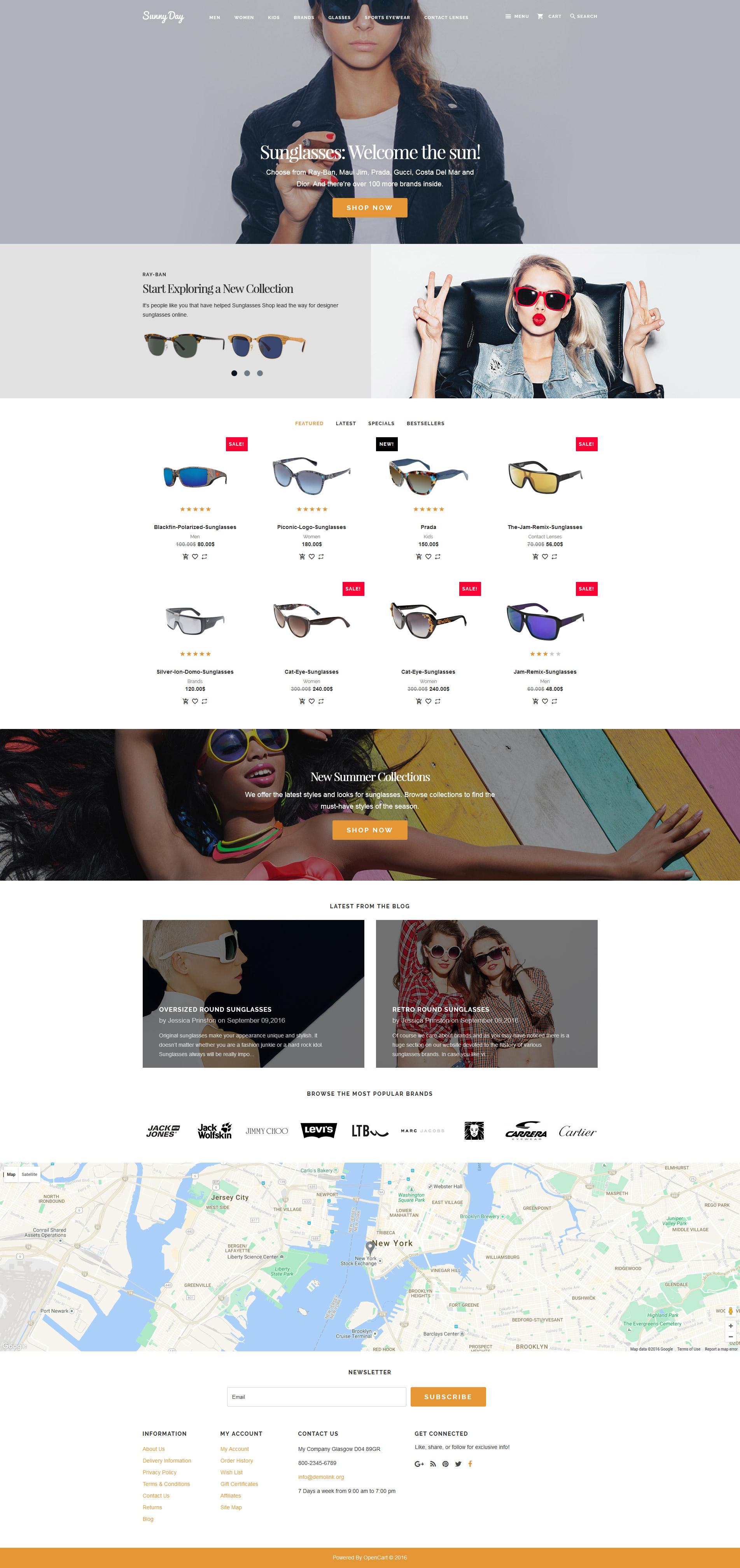 sunglasses shop opencart template