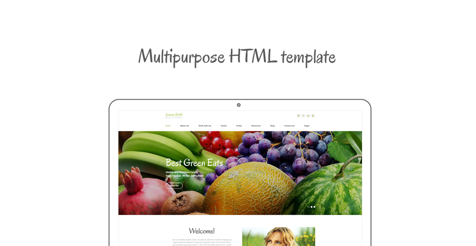 Weight Loss Responsive Website Template with Blog, E-Commerce, HTML5 Pages