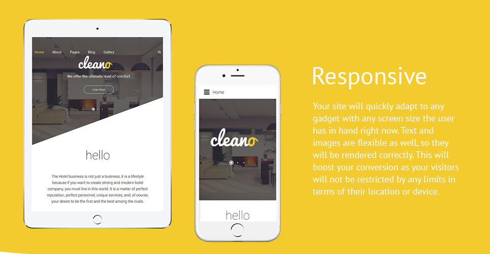 Cleano Hotel  Responsive Joomla Template