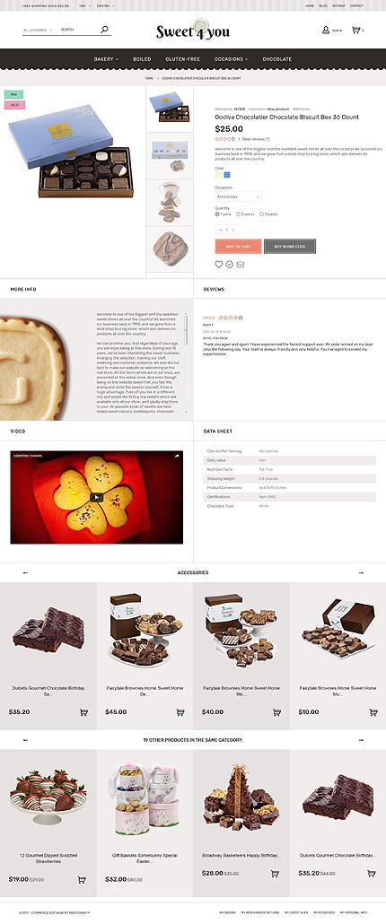 TM 62190: Скриншот страницы продукта Prestashop