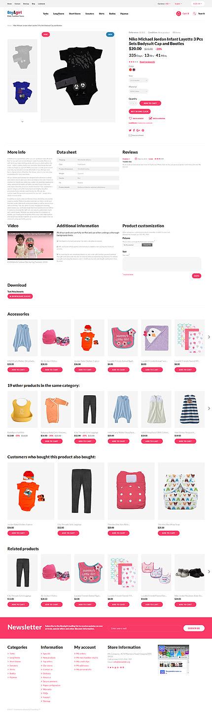 TM 62378: Скриншот страницы продукта Prestashop