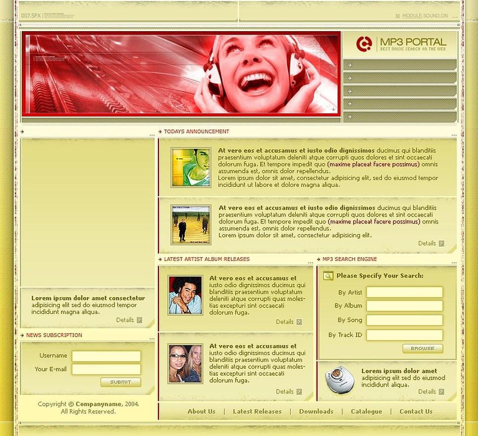 Music Portal PHP-Nuke Template New Screenshots BIG