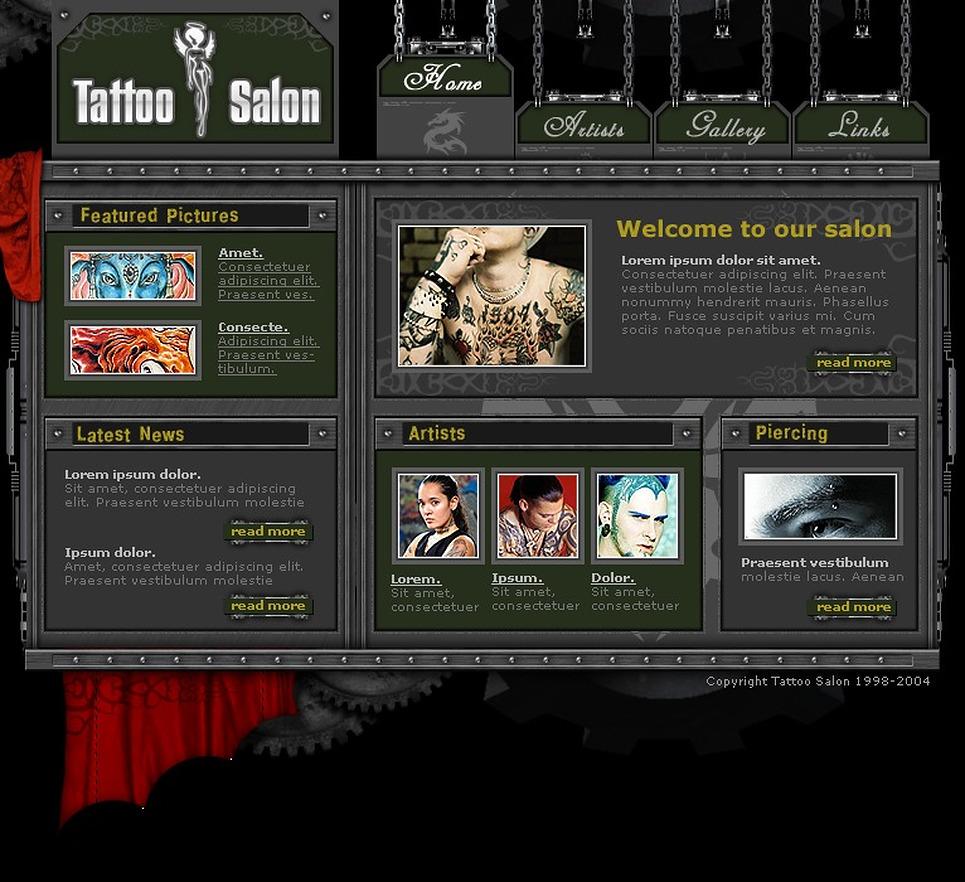 tattoo salon website template web design templates website templates download tattoo salon. Black Bedroom Furniture Sets. Home Design Ideas