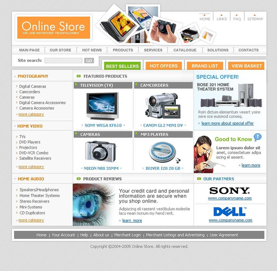 Electronics Store Website Template New Screenshots BIG