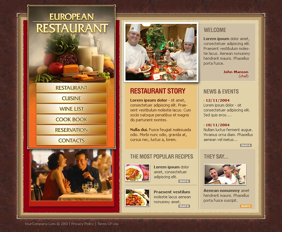 European restaurant website template web design