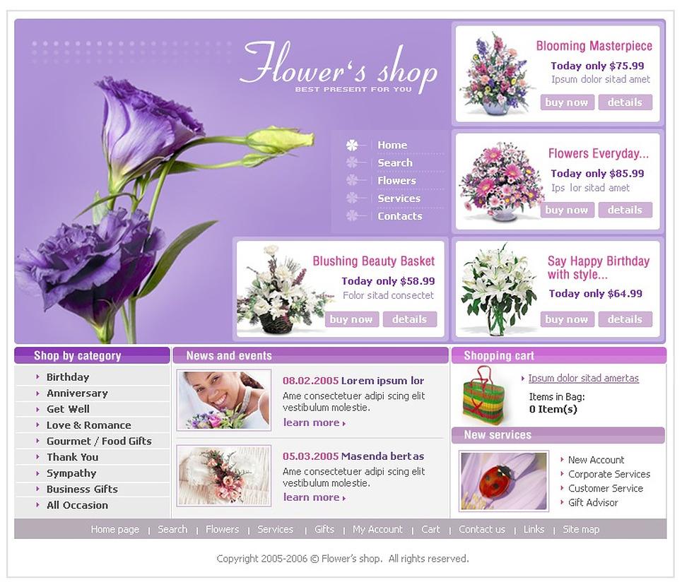 Flower Shop Website Template #7612