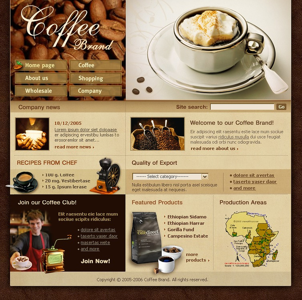 coffee shop website template web design templates website templates download coffee shop. Black Bedroom Furniture Sets. Home Design Ideas