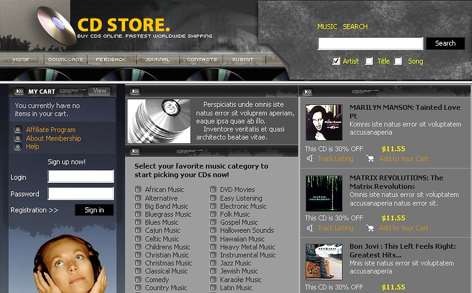 DVD Store PHP-Nuke Template New Screenshots BIG