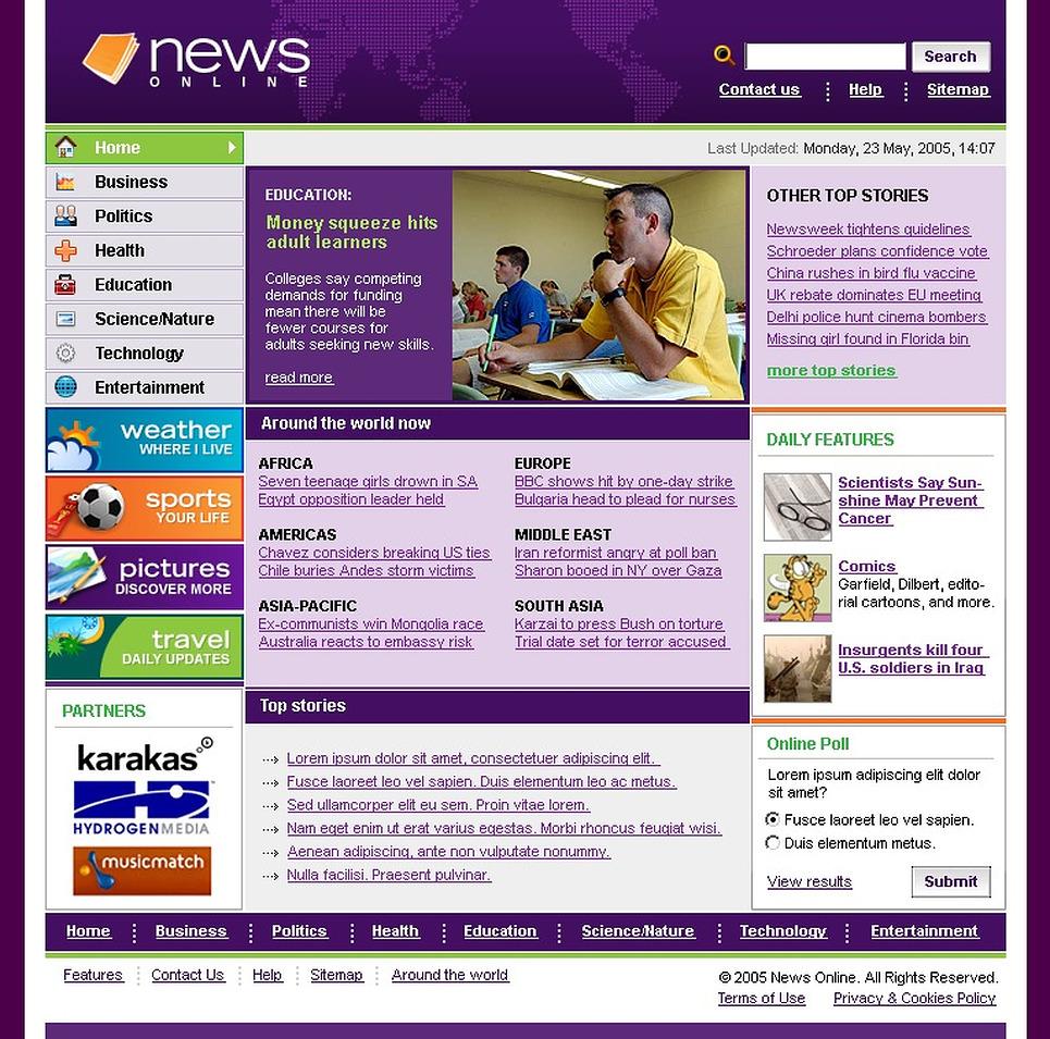 News Portal Website Template New Screenshots BIG