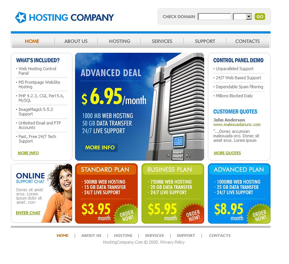 Hosting Flash Template New Screenshots BIG