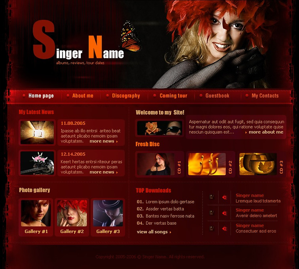 Singer Website Template New Screenshots BIG
