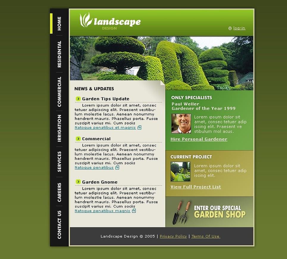 Landscape design website template 8767 for Garden design websites