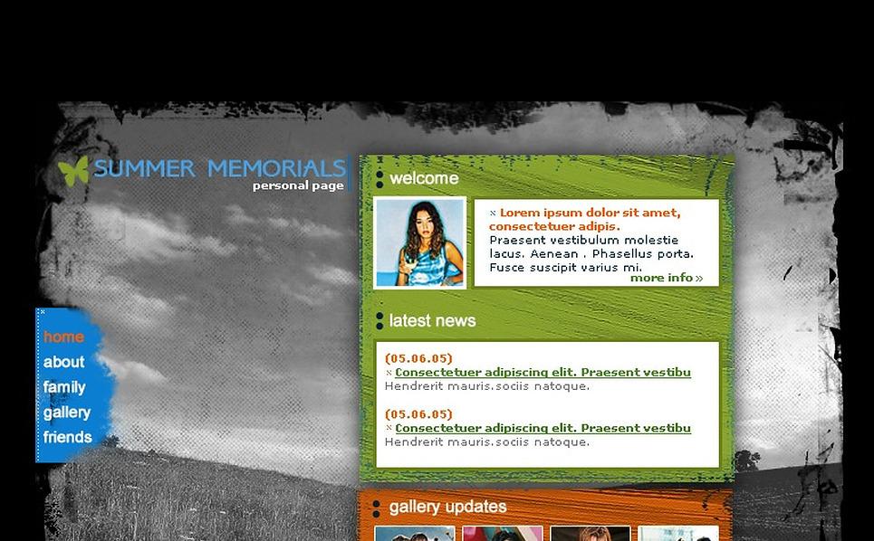 Personal Page SWiSH Template New Screenshots BIG