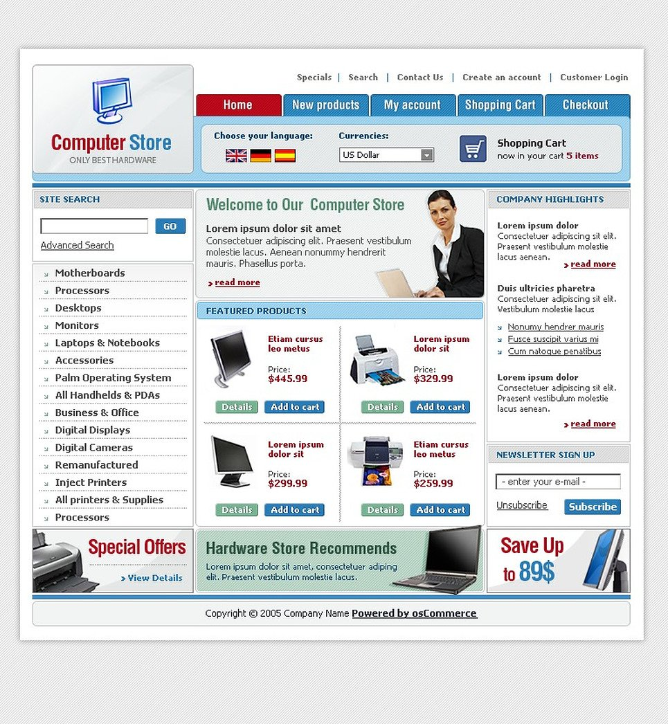Computer Store OsCommerce Template New Screenshots BIG