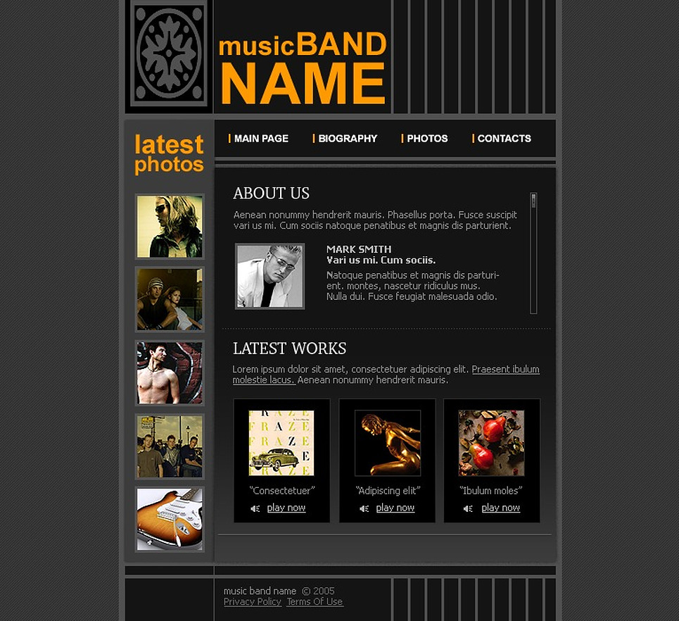music band website template web design templates website templates download music band. Black Bedroom Furniture Sets. Home Design Ideas