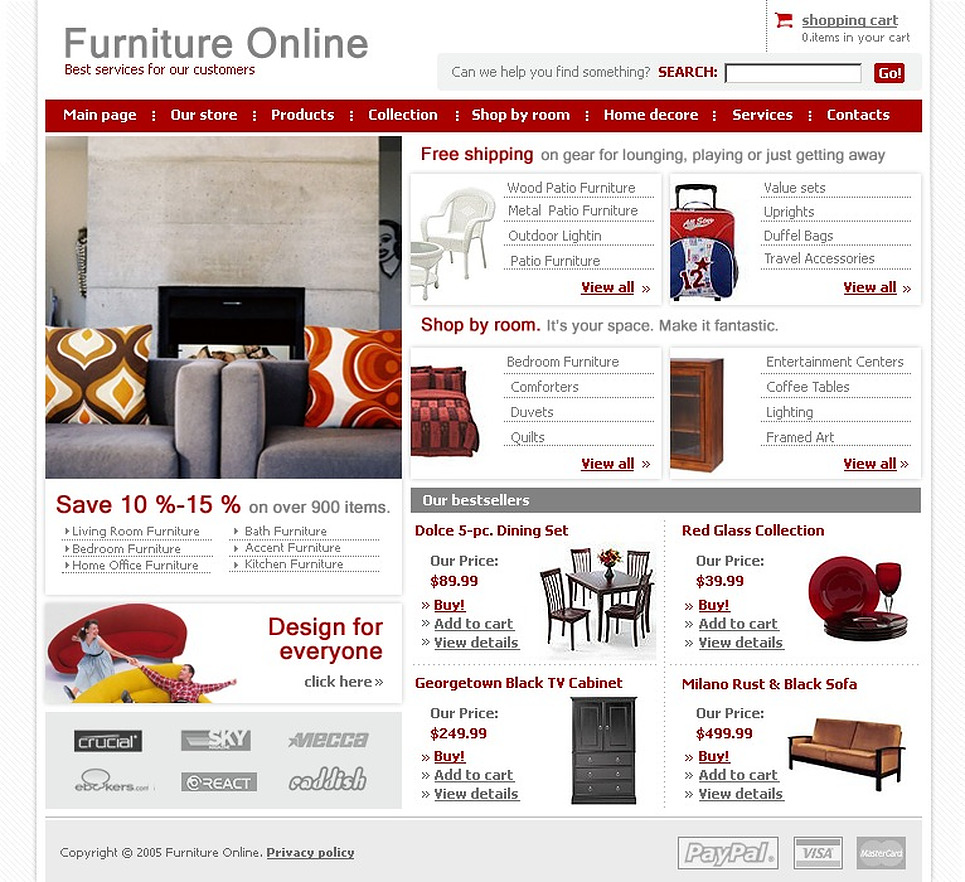 Furniture website template 9241 Home furniture online websites