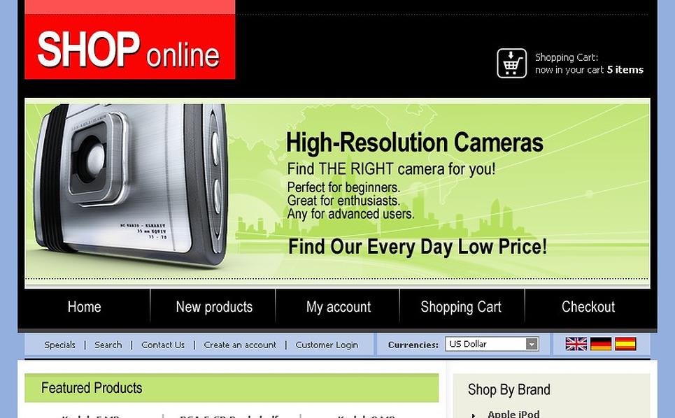 Electronics Store OsCommerce Template New Screenshots BIG