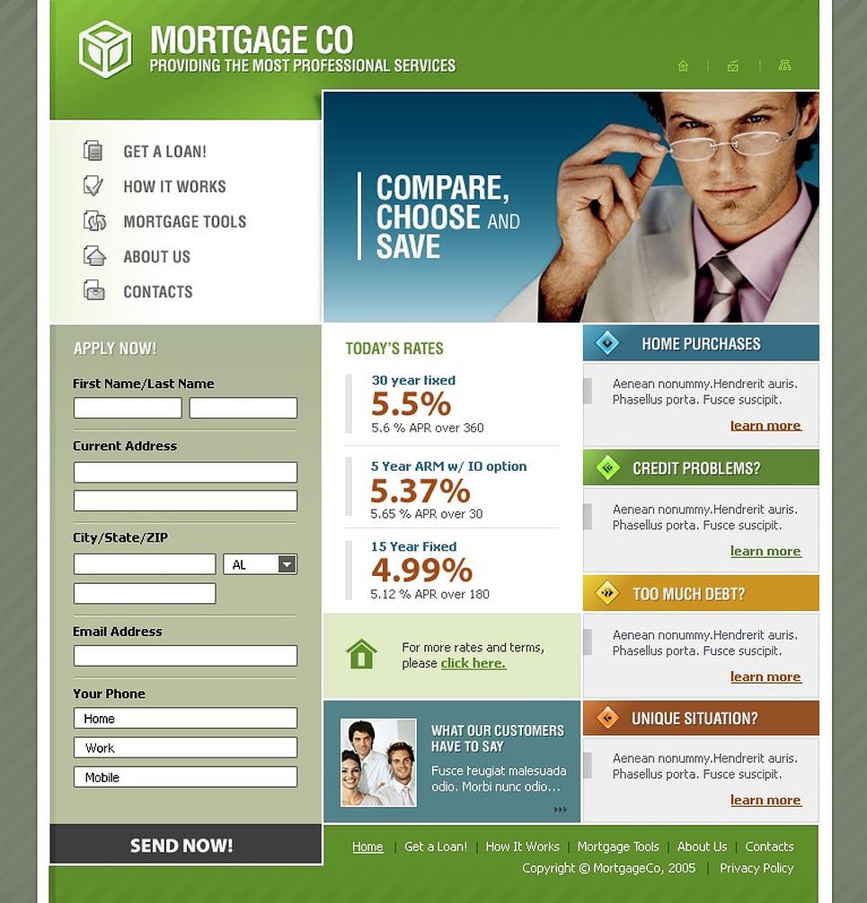 mortgage website template 9637. Black Bedroom Furniture Sets. Home Design Ideas