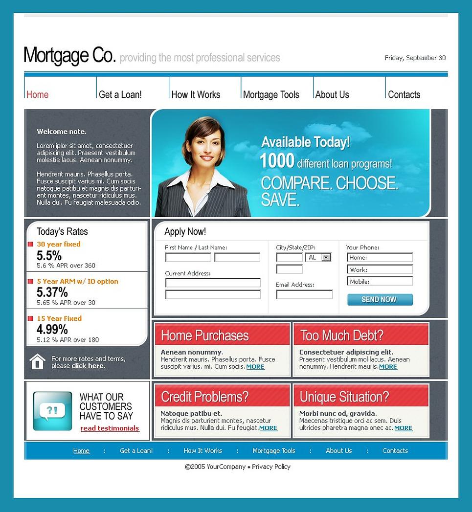 mortgage website template 9802. Black Bedroom Furniture Sets. Home Design Ideas