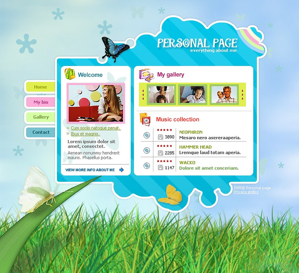 Personal Page Website Template New Screenshots BIG