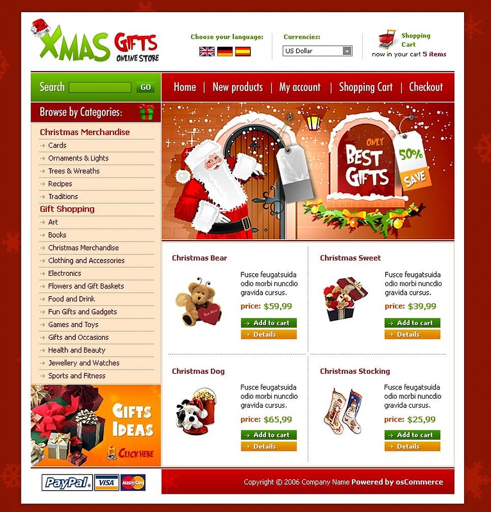 Christmas OsCommerce Template New Screenshots BIG