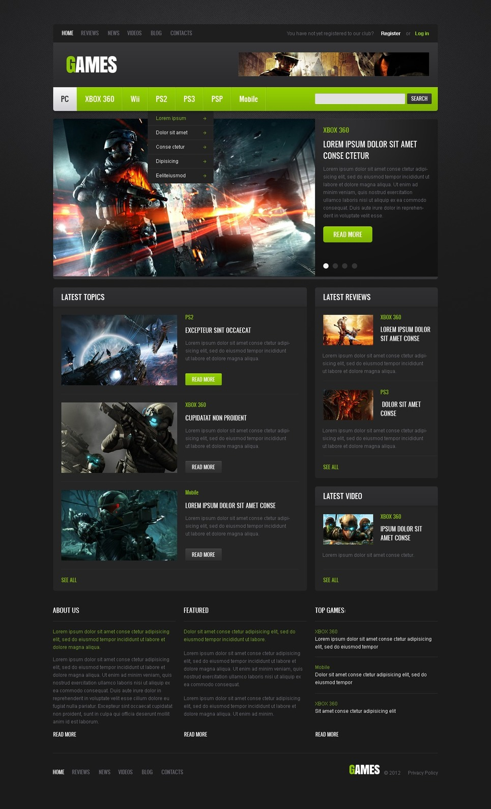 Game Web Template Free